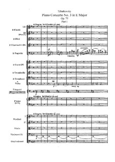 Concerto for Piano and Orchestra No.3 in E Flat Major, TH 65 Op.75: partitura completa by Pyotr Tchaikovsky