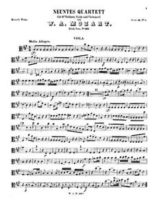 String Quartet No.9 in A Major, K.169: parte viola by Wolfgang Amadeus Mozart