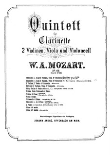 Quintet for Clarinet and Strings in A Major, K.581: Clarinet part (B Flat Major) by Wolfgang Amadeus Mozart