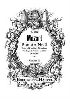 Church Sonata for Two Violins, Organ and Basso Continuo No.2 in B Flat Major, K.68: violino parte II by Wolfgang Amadeus Mozart