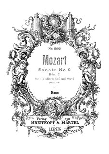 Church Sonata for Two Violins, Organ and Basso Continuo No.2 in B Flat Major, K.68: parte basso continuo by Wolfgang Amadeus Mozart