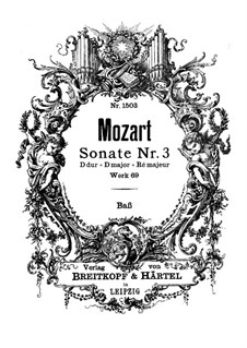 Church Sonata for Two Violins, Organ and Basso Continuo No.3 in D Major, K.69: parte basso continuo by Wolfgang Amadeus Mozart