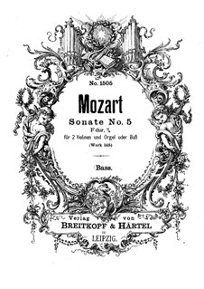 Church Sonata for Two Violins, Organ and Basso Continuo No.5 in F Major, K.145: parte basso continuo by Wolfgang Amadeus Mozart