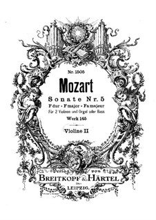 Church Sonata for Two Violins, Organ and Basso Continuo No.5 in F Major, K.145: violino parte II by Wolfgang Amadeus Mozart