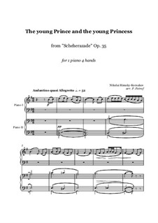Scheherazade, Op.35: The young Prince and the young Princess, for piano four hands - score and parts by Nikolai Rimsky-Korsakov