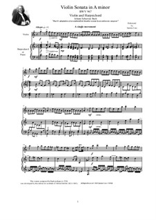 Sonata for Keyboard in A Minor, BWV 967: Arrangement for violin and harpsichord (or piano) by Johann Sebastian Bach