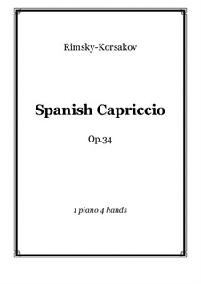 Capriccio Espagnol, Op.34: For piano four hands – score and parts by Nikolai Rimsky-Korsakov