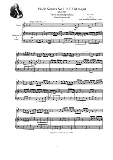 Trio Sonata for Organ No.1 in E Flat Major, BWV 525: Version for violin and harpsichord (or piano) by Johann Sebastian Bach