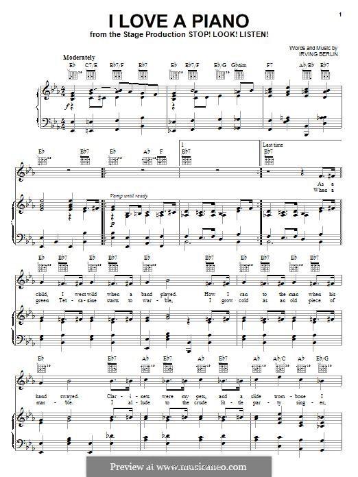 I Love a Piano: Para vocais e piano (ou Guitarra) by Irving Berlin