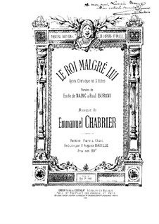 Le roi malgré lui (King in Spite of Himself): Partitura Piano-vocal by Emmanuel Chabrier