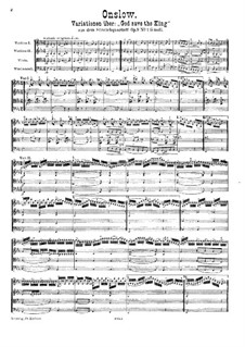 Three String Quartets No.7-9, Op.9: Quartet in G Minor. Movement II 'God Save the King' – score by Georges Onslow