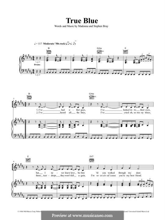 True Blue (Madonna): Para vocais e piano (ou Guitarra) by Madonna, Stephen Bray
