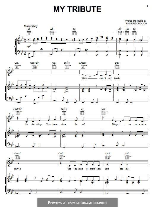 My Tribute: Para vocais e piano (ou Guitarra) by Andrae Crouch