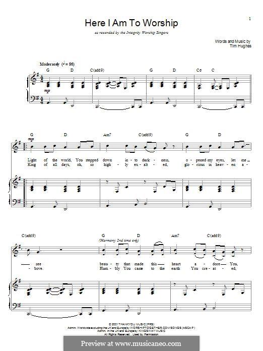 Here I am to Worship (Phillips, Craig & Dean): Para vocais e piano by Tim Hughes