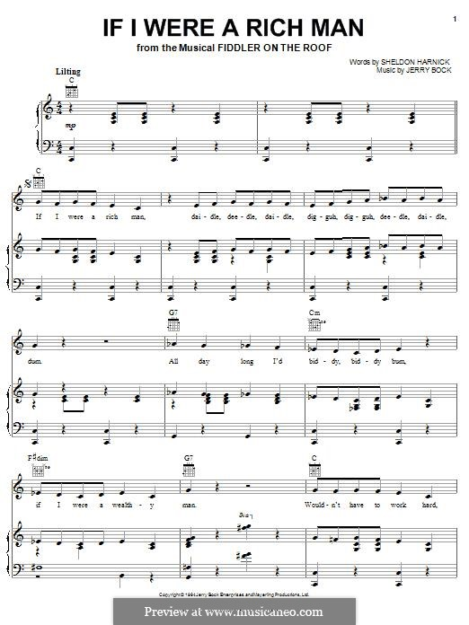 If I Were a Rich Man (from The Fiddler on the Roof): Para vocais e piano (ou Guitarra) by Jerry Bock