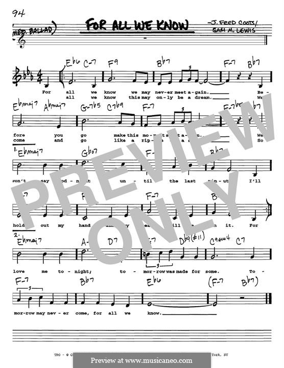 For All We Know: For instrument in E Flat by J. Fred Coots