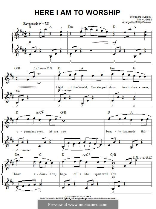 Here I am to Worship (Phillips, Craig & Dean): Para Piano by Tim Hughes