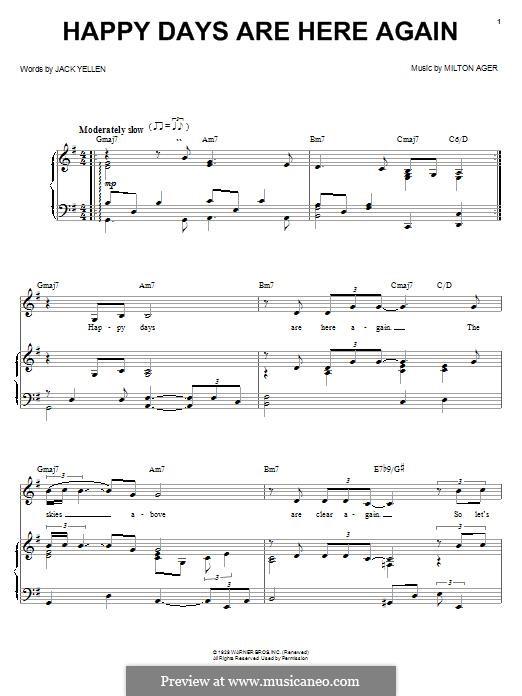 Happy Days Are Here Again (Jack Yellen): Para voz e piano ou guitarra (Barbra Streisand) by Milton Ager