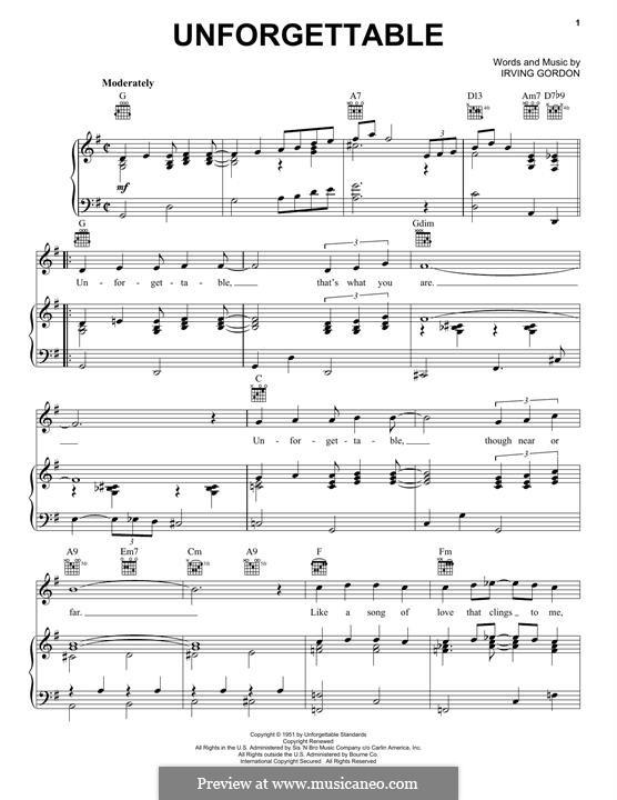 Unforgettable: Para vocais e piano (ou Guitarra) by Irving Gordon