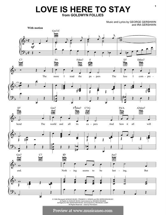 Love is Here to Stay: Para vocais e piano (ou Guitarra) by George Gershwin