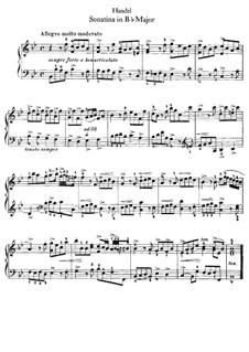 Sonatina in B Flat Major, HWV 585: para cravo by Georg Friedrich Händel