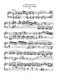 Sonata for Piano No.62 in E Flat Major, Hob.XVI/52: para dedilhado by Joseph Haydn