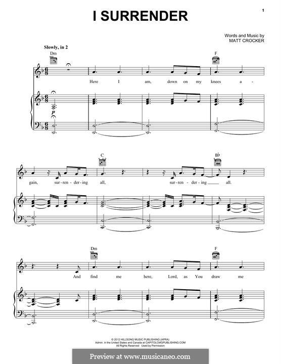 I Surrender (Hillsong LIVE): Para vocais e piano (ou Guitarra) by Matt Crocker