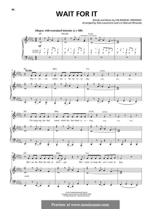 Wait for It (from 'Hamilton'): Para vocais e piano by Lin-Manuel Miranda