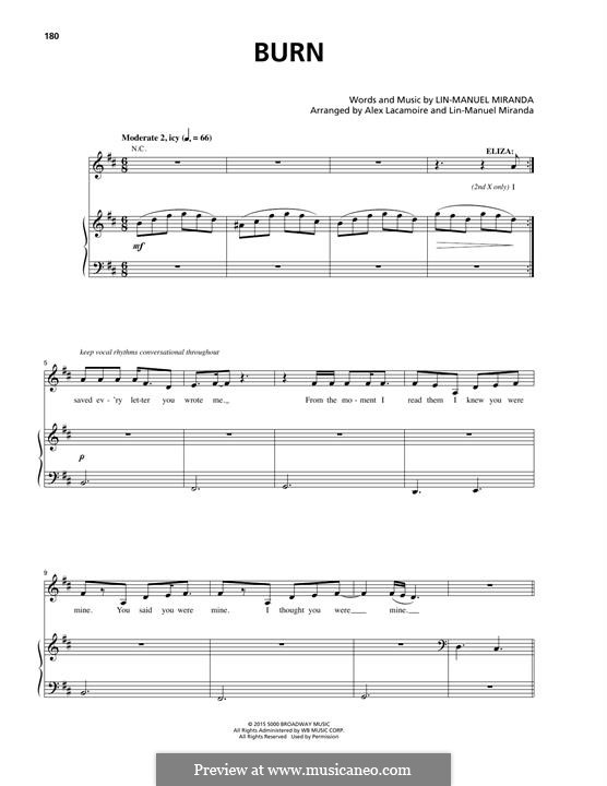 Burn: Para vocais e piano by Lin-Manuel Miranda