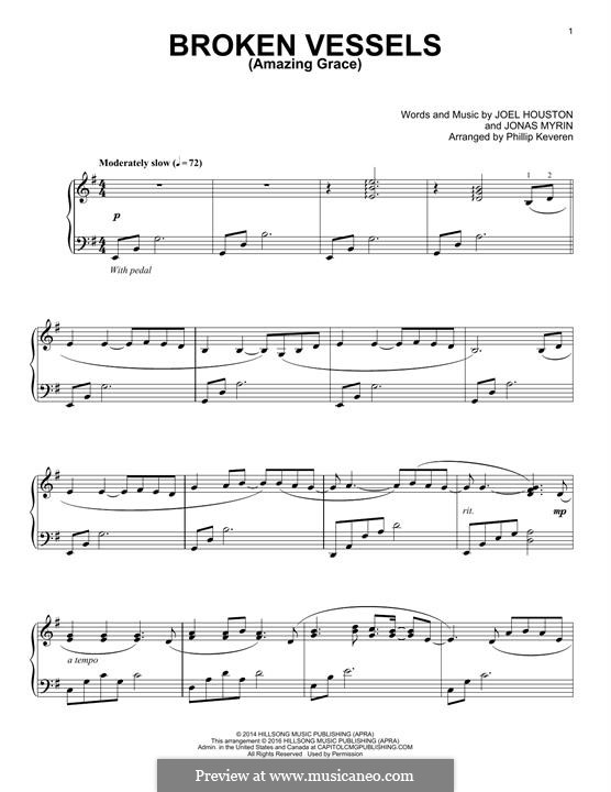 Broken Vessels (Amazing Grace): Para Piano by Jonas Myrin, Joel Houston