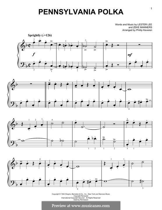 Pennsylvania Polka: Para Piano by Lester Lee, Zeke Manners