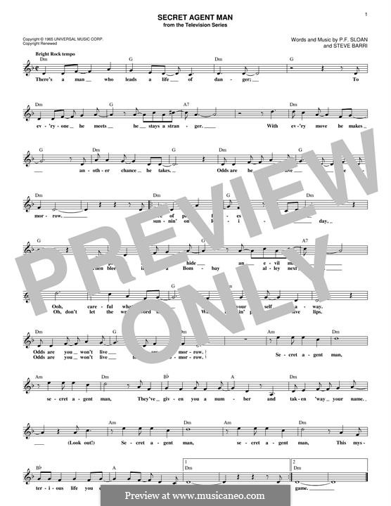 Secret Agent Man (Johnny Rivers): melodia by P.F. Sloan, Steve Barri