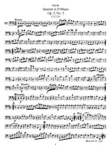 String Quartet in D Major, Hob.III/11 Op.2 No.5: parte violoncelo by Joseph Haydn