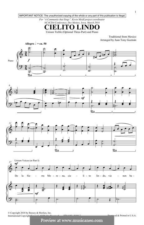 Cielito Lindo: Para vocais e piano by folklore