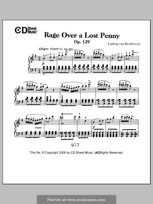 Die Wut über den verlorenen Groschen (The Rage Over the Lost Penny), Op.129: Para Piano by Ludwig van Beethoven