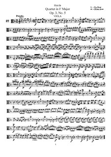 String Quartet in F Major, Hob.III/17 Op.3 No.5: parte viola by Joseph Haydn