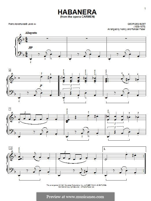 Habanera (Printable Scores): versão facil para piano by Georges Bizet