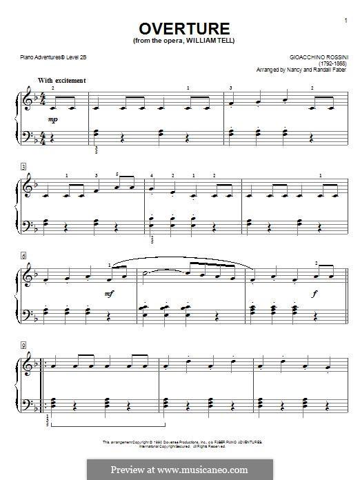 Overture (Printable Scores): Facil para o piano by Gioacchino Rossini