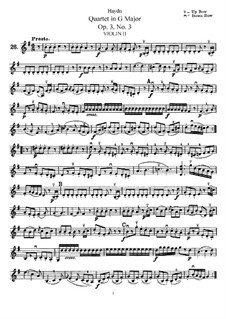 String Quartet in G Major, Hob.III/15 Op.3 No.3: violino parte II by Joseph Haydn