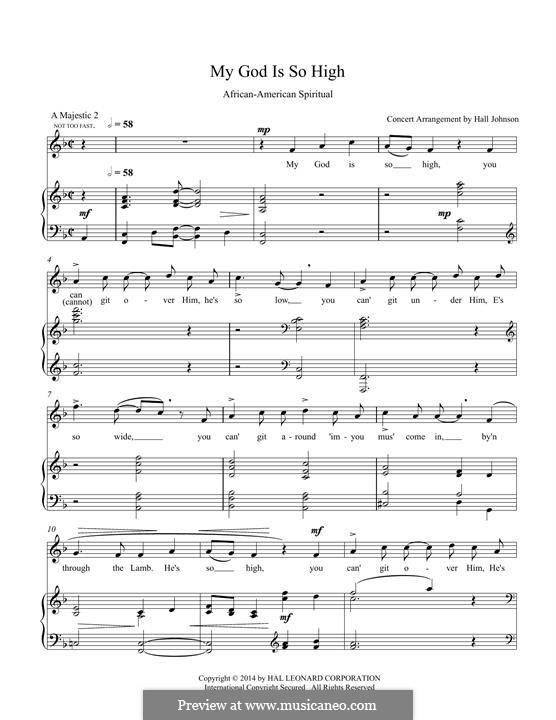 My God Is So High: For voice and piano (F) by folklore