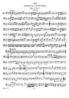 String Quartet No.1 in B Flat Major, Hob.III/1 Op.1 No.1: parte violoncelo by Joseph Haydn