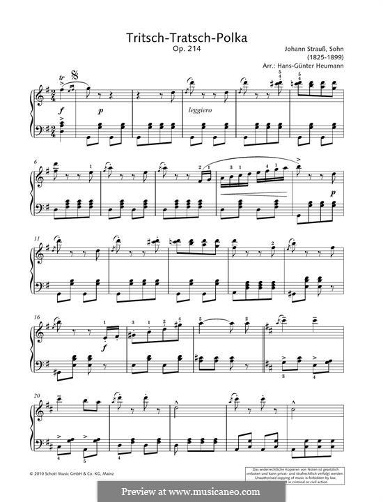 Tritsch Tratsch Polka, Op.214: Para Piano by Johann Strauss (Sohn)
