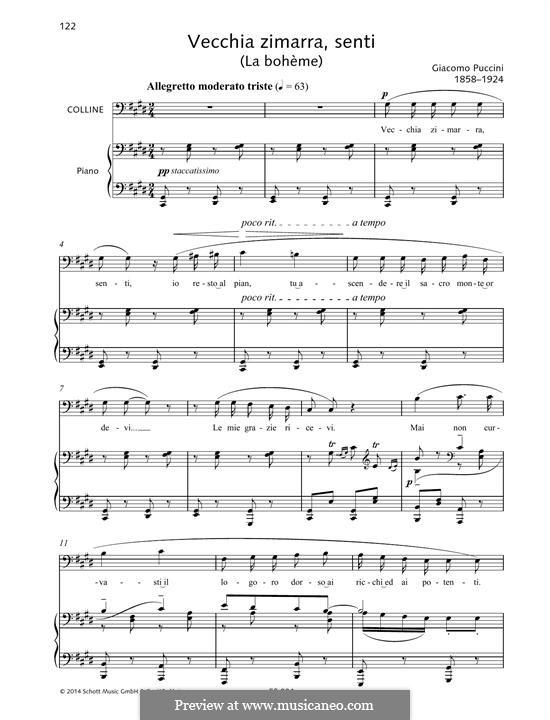Vecchia zimarra: Para vocais e piano by Giacomo Puccini