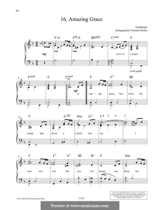 Amazing Grace, for Piano: para um único musico (Editado por H. Bulow) by folklore