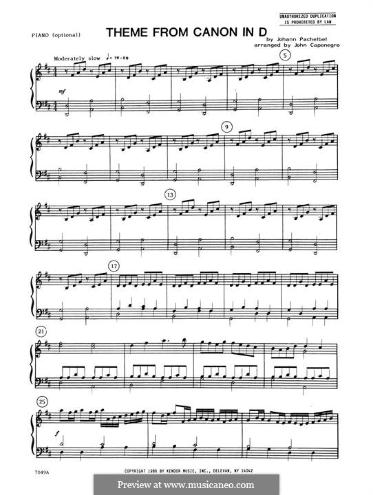 Canon in D Major (Printable): Theme, piano accompaniment by Johann Pachelbel