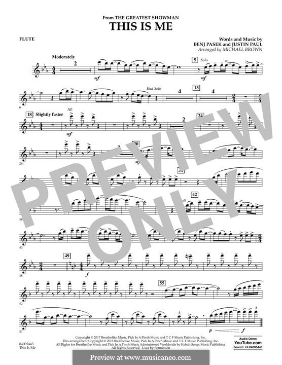 This is Me: Flute part (arr. Michael Brown) by Justin Paul, Benj Pasek
