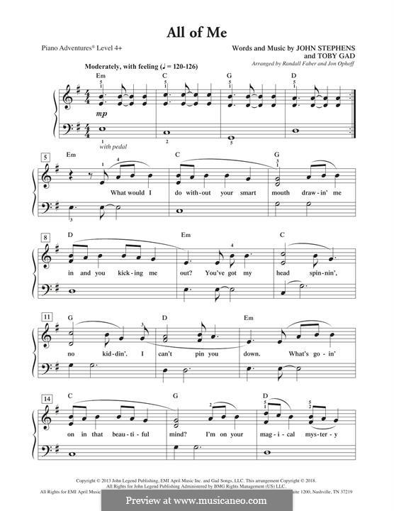 All of Me: Facil para o piano by John Stephens, Tobias Gad