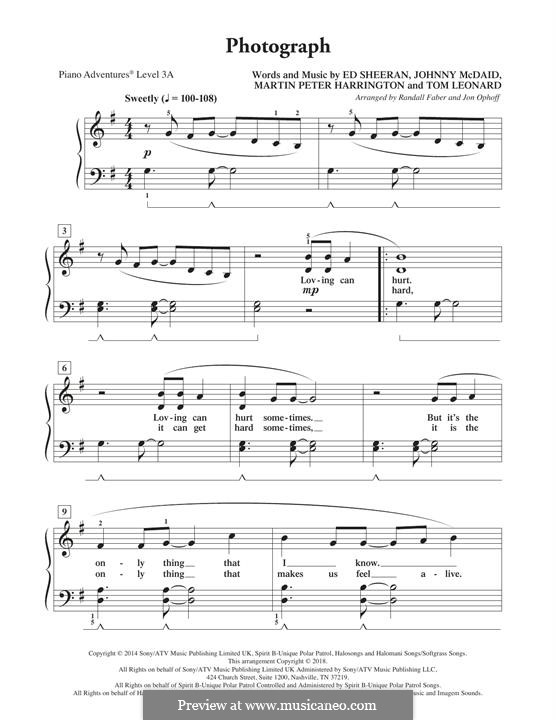 Photograph: Facil para o piano by Ed Sheeran, John McDaid