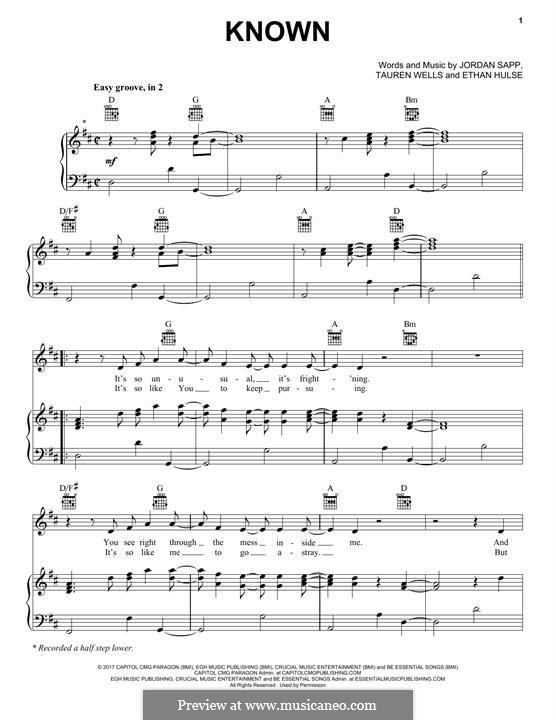 Known: Para vocais e piano (ou Guitarra) by Jordan Sapp, Ethan Hulse, Tauren Wells