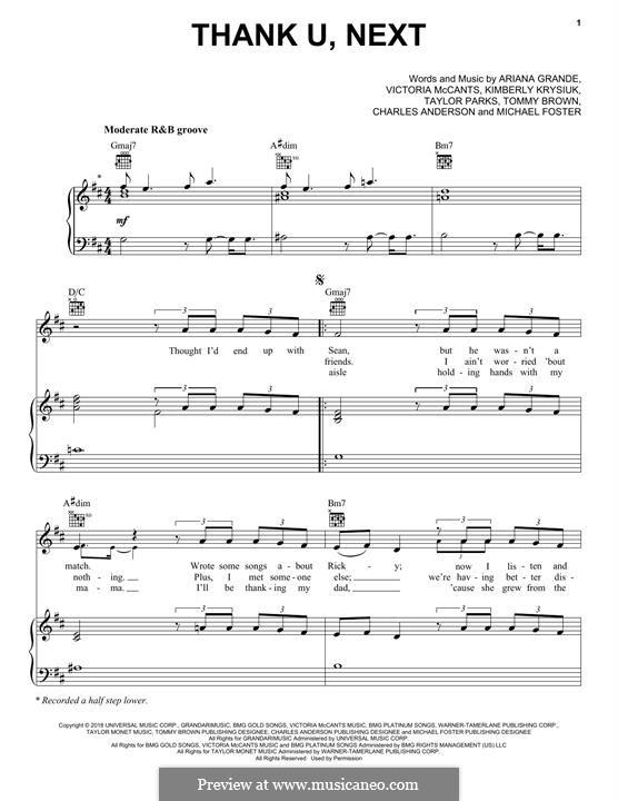 Thank U, Next: Para vocais e piano (ou Guitarra) by Ariana Grande, Victoria McCants, Taylor Parks, Kimberly Krysiuk